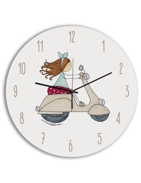 Reloj Circular niña moto-min