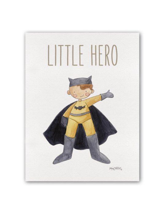 """LITTLE HERO BATMAN BT min 535x696 - Cuadro """"Little Hero"""" Batman"""