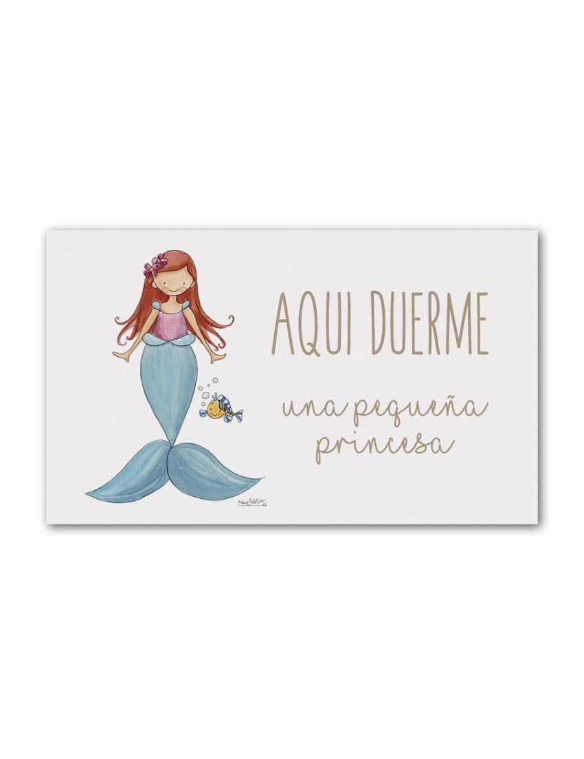 PLACA SIRENITA min - Placa Puerta Princesas Sirenita