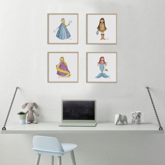 princesas 535x535 - Cuadro Princesas Sirenita Pequeño