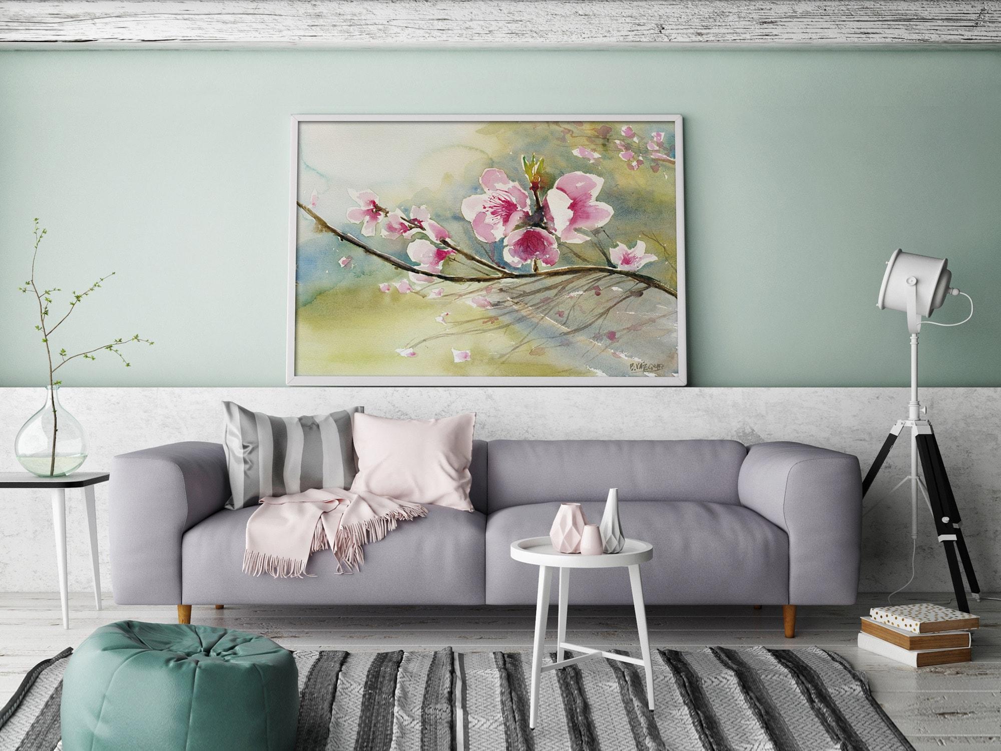 Cuadro Rama en Flor rosa