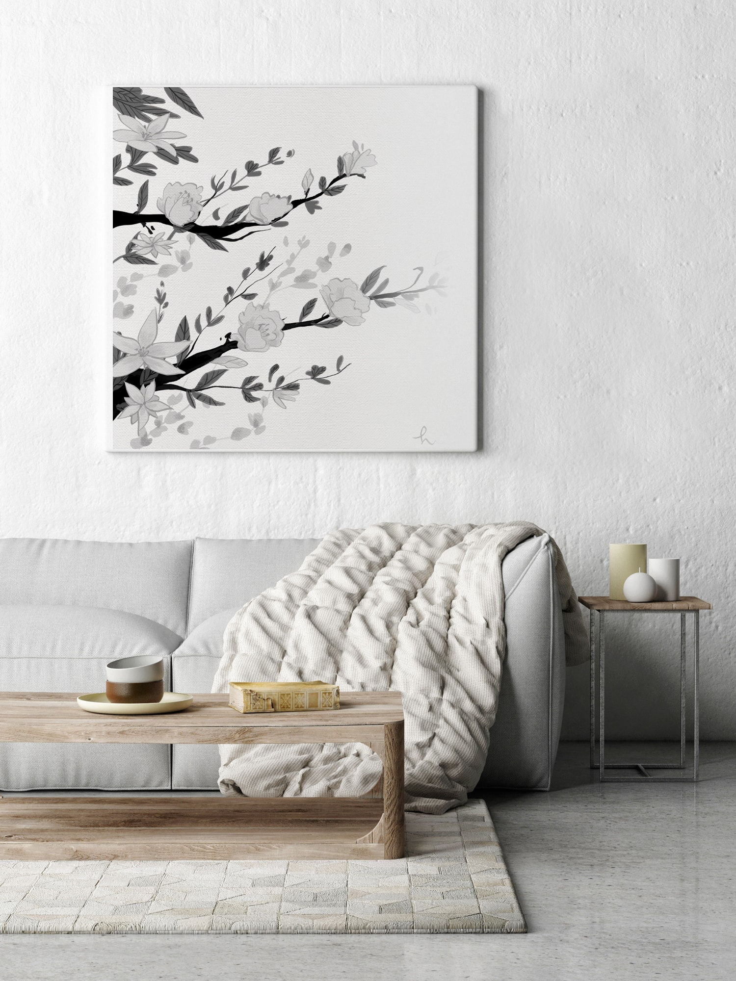 Cuadro flor japonesa blanco y negro