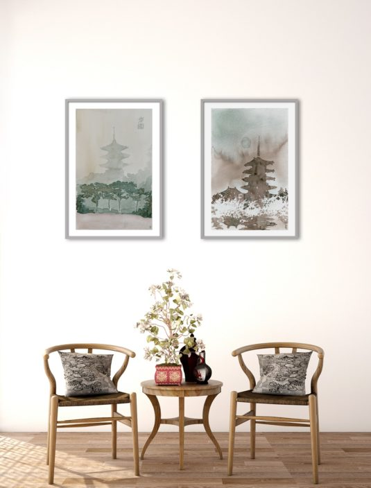 Cuadro Pagoda II y II en ambiente