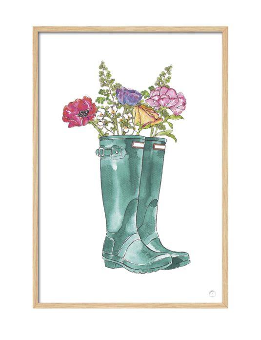 Cuadro botas flores
